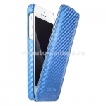 Кожаный чехол для iPhone 5 / 5S Melkco Premium Leather Case - Jacka Type, цвет Carbon Fiber Pattern - Blue